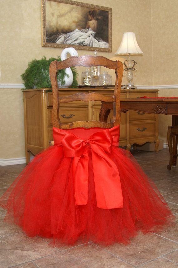 빨간 투투 얇은 명주 의자 의상 새틴 보우 주문 제작 의자 스커트 러블리 프릴 웨딩 장식의 자 커버 생일 파티 용품