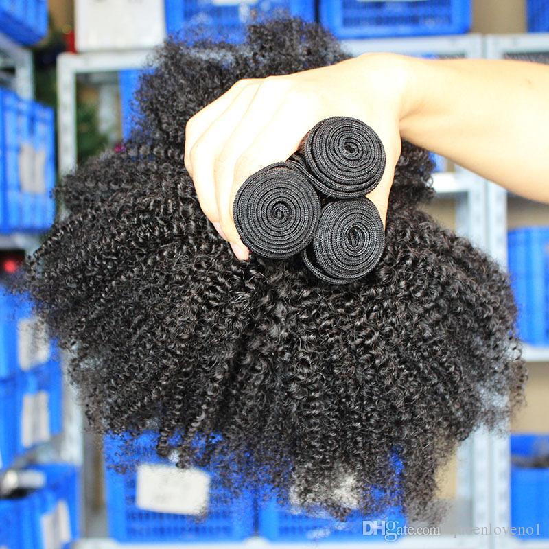 Moğol Afro Kinky Kıvırcık Bakire Saç Kinky Kıvırcık saç örgüleri İnsan Saç Uzatma Doğal Renk Çift atkıları Dyedable
