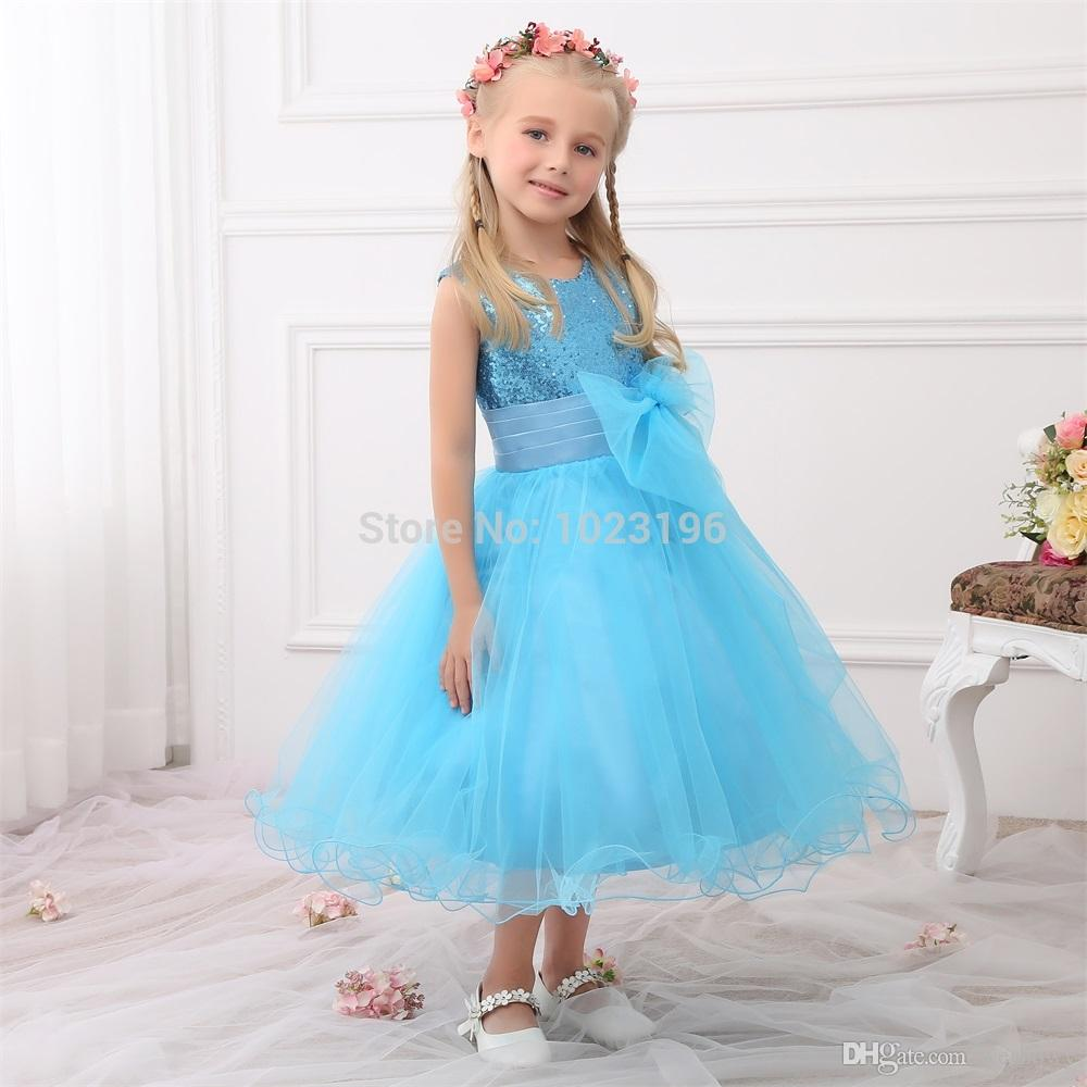 2020 New Real Princess Blue Sequins Flower Girl Dresses Sequins Sash Tea Length Tulle Infant Little Girl Birthday Party Dresses HY1279