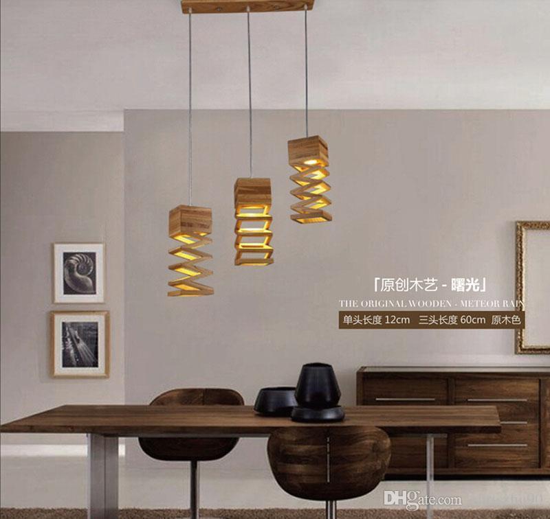 Acheter nouveau design moderne bois pendentif lumière pour salle à manger salon éclairage maison luminaire décoration créative bois pendentif lumière de