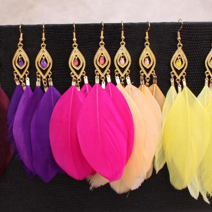 Feather Drop Earrings Jewelry Hot Sale Dangle Earring For Women Girl Party Gift Fashion Jewelry Wholesale 0229WH