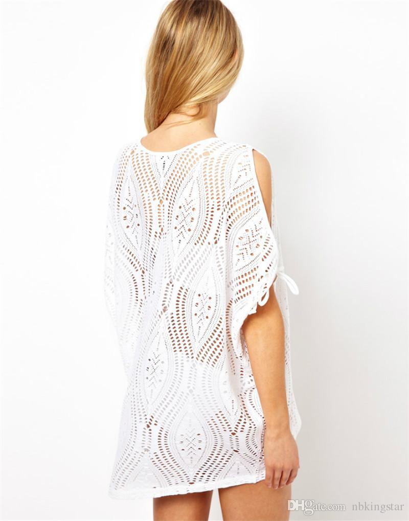 New Women's Sexy Bathing Suit Hollow Strap Off Shoulder Crochet Beach Swimwear Bikini Cover-Ups Dress Black/White