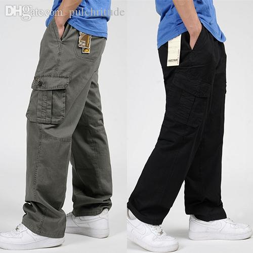 Wholesale-Large Size 6XL Men Pants Summer Outdoor Clothing Big Pockets Loose Straight Mens Cotton Trousers Casual Cargo Men Pants 4 Colors