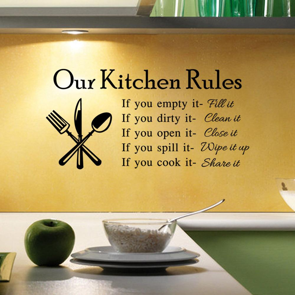 New Hot DIY Kitchen Rules Quote Wall Sticker Creative Decals Decal Home  Household Decor Stickers Words Kitchen Rules Wall Sticker DIY Wall Sticker  DIY ...