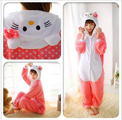 hello kitty costume fursuit costum jumpsuits Halloween christmas costumes for men women Pooh Kigurumi Pajamas Animal Cosplay Outfit Adult