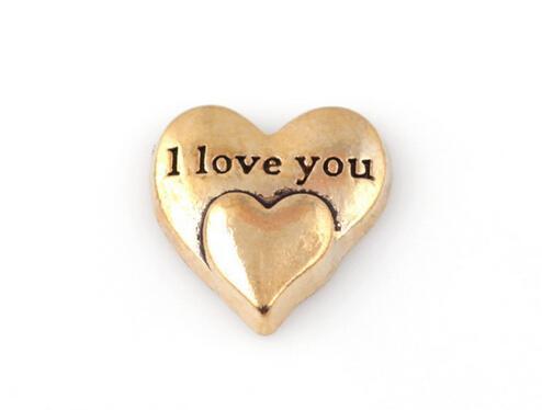20 pçs / lote banhado a ouro eu te amo palavra carta charme, coração diy encantos flutuantes fit para memória medalhão de vidro