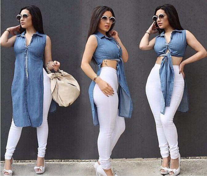 Women Cotton Bow Denim Dress Ladies Cotton Blue Summer Style T Shirt