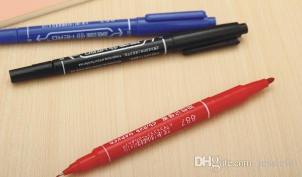 Brand new HERO Malerei Stifte Hook line stift Wasserdicht colorfast CD filzstift 2 köpfe ölige Kunst Zeichnung marker 1mm 3mm drop verschiffen