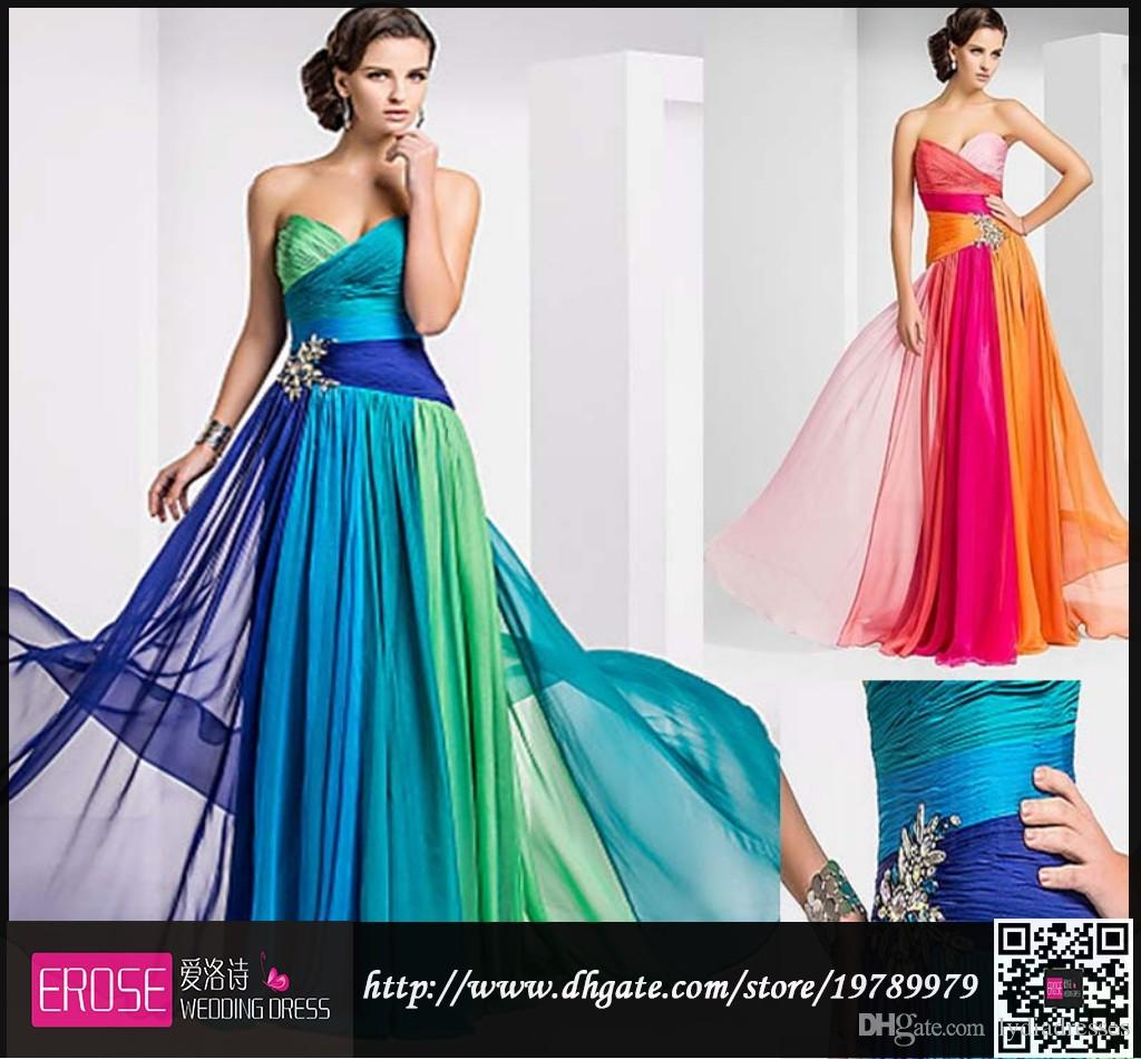 Best Selling Chiffon Color Mixture Prom Dresses A Line Sweetheart ...
