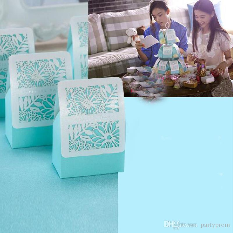 Romantic Wedding Gift Bag Party Event Supplies Blue Elegant Luxury Decoration Laser Cut Sweet Favors Paper Candy Box For Guest