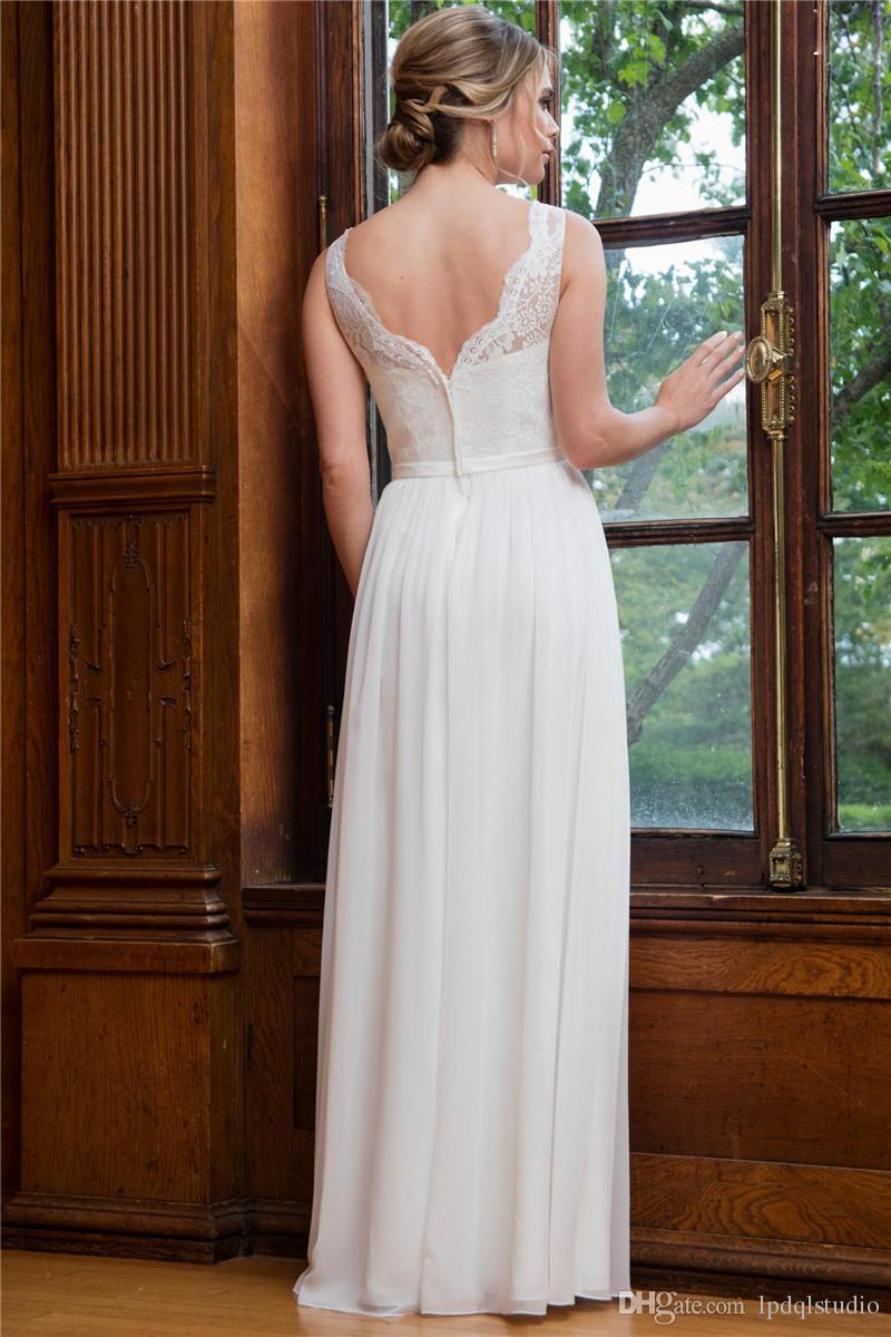 A-line abito da sposa caratteristiche pizzo top, gonna in chiffon elegante pizzo abiti da sposa abiti da sposa piano lunghezza avorio, bianco Custom Made