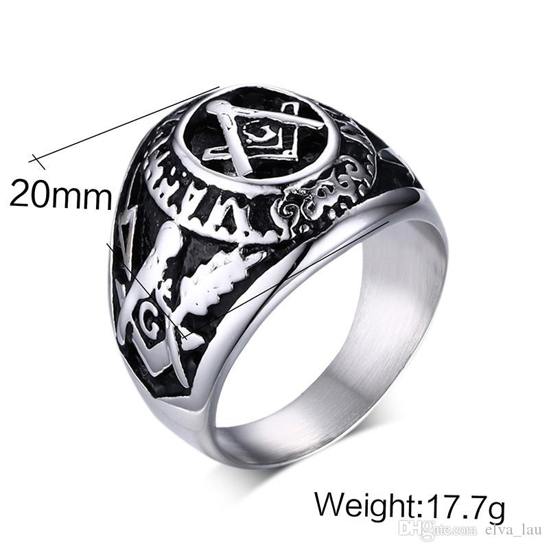 Wholesale Fashion Mens Rings High Qaulity Free-Mason Stainless Steel Rings High Polished Religious Totem Biker Rings For Men US Size 7-12