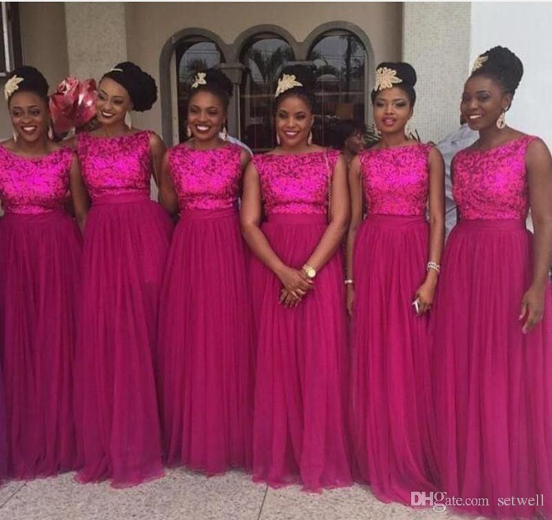 Fuschia nigeriana vestidos de damas de honor con lentejuelas, longitud del piso largo, una línea de vestidos de dama de honor, más vestido de boda tamaño invitado