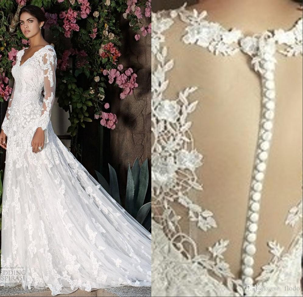 Discount long sleeve sheer lace wedding dresses 2017 elegant v discount long sleeve sheer lace wedding dresses 2017 elegant v neck 3d applique custom made a line bridal gowns with buttons cheap a line wedding dresses ombrellifo Image collections
