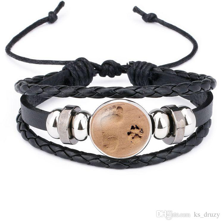 Noosa 18mm Snap Buttons Bracelet Multilayer Paw Footprint Braided Leather Bracelet for Women Men Snaps Jewelry