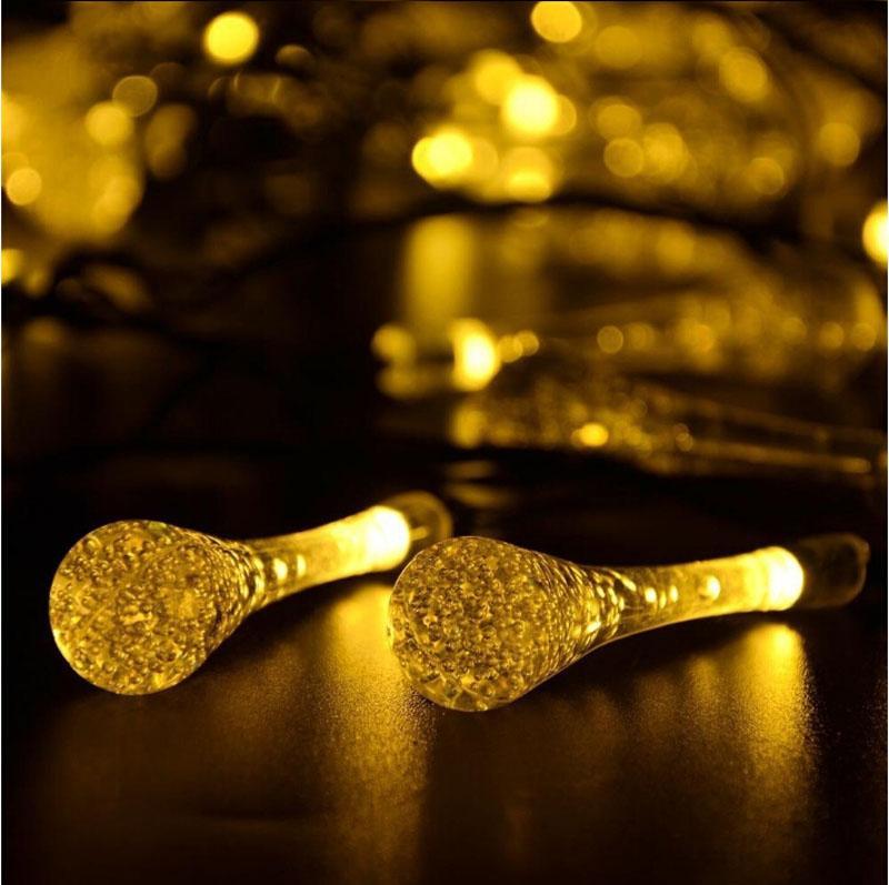 Solar Christmas Lights 19.7ft 6m 30 LED 3 Modes Solar Light String Crystal Water Drop Solar Fairy String Lights for Outdoor