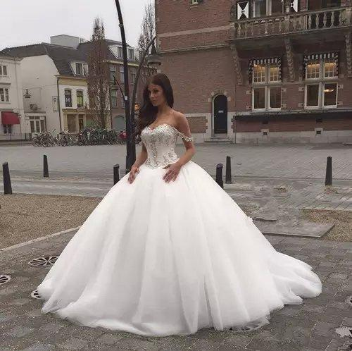 Off The Shoulder Ball Gown Crystal Wedding Dress 2015 Puffy Corset ...