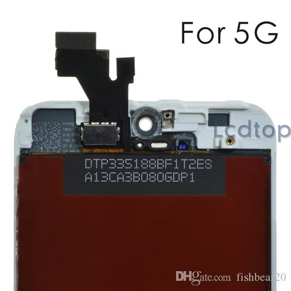 Для iPhone 5 / 5S / 5C ЖК-дисплей высокого качества без битых пикселей Сенсорный дисплей Дигитайзер Экран с рамкой с мелкими деталями Сборка Замена деталей