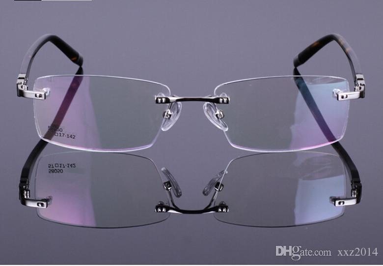 جودة الرخيصة وصفة النظارات الإطار بدون شفة مستطيلة الإطار السلحفاة لوح الساقين ثلاثة ألوان النظارات للرجال 58050