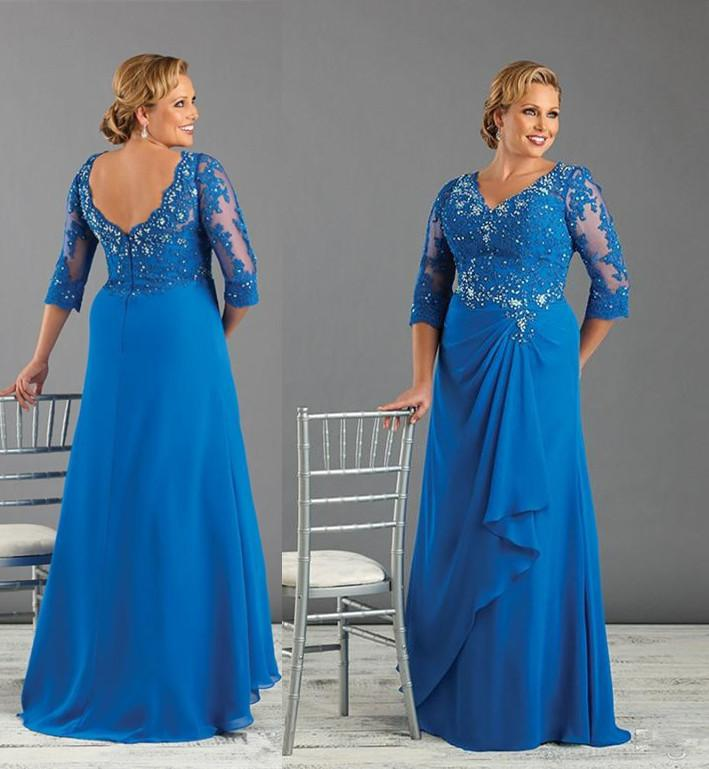 Exceptionnel 2015 Mother Of The Groom Bridal Dresses Plus Size Brides Mother Dresses For  Weddings Floor Length V Neck Royal Blue Chiffon Evening Dress The Best  Mother Of ...