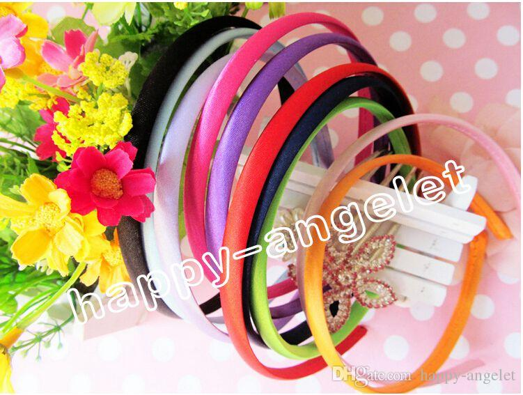 1cm Colored Satin Covered Resin women Hairbands,Fashion Hair Band for girls bows flower,Baby Headband,Hair Accessories FJ3109