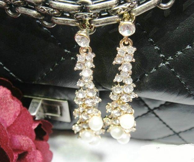 / Fashion elegant tassel imitated pearl earrings new simple gold color earrings for women