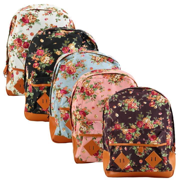 bab048207007 1pcs fashion Women Girl Vintage Schoolbag Bookbag Backpack Cute Flower  Floral Bag Brand New