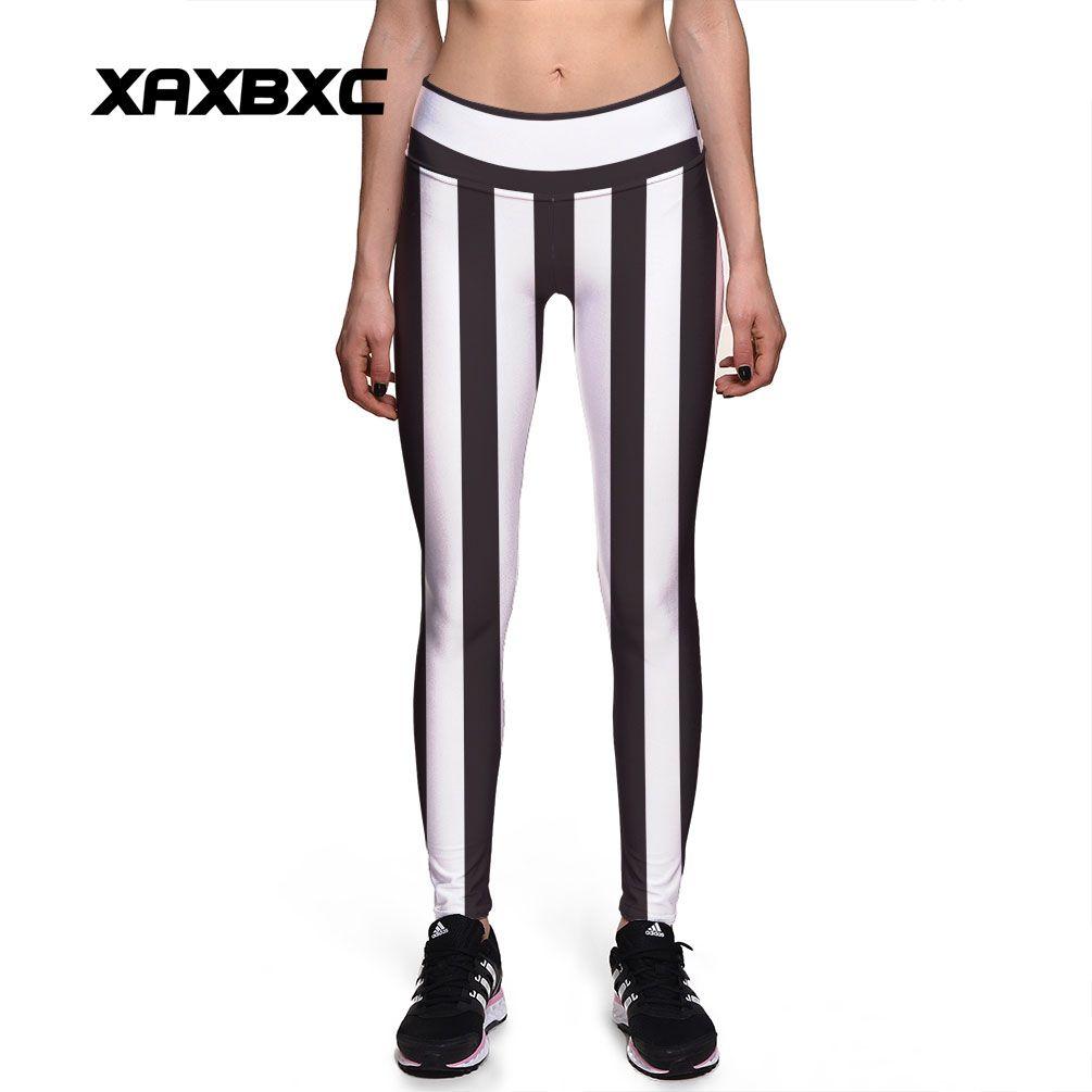 2017 New 0019 Fashion Black Twill Striped 3D Prints Sexy Girl Pencil Yoga Pants GYM Fitness Workout High Waist Women Leggings