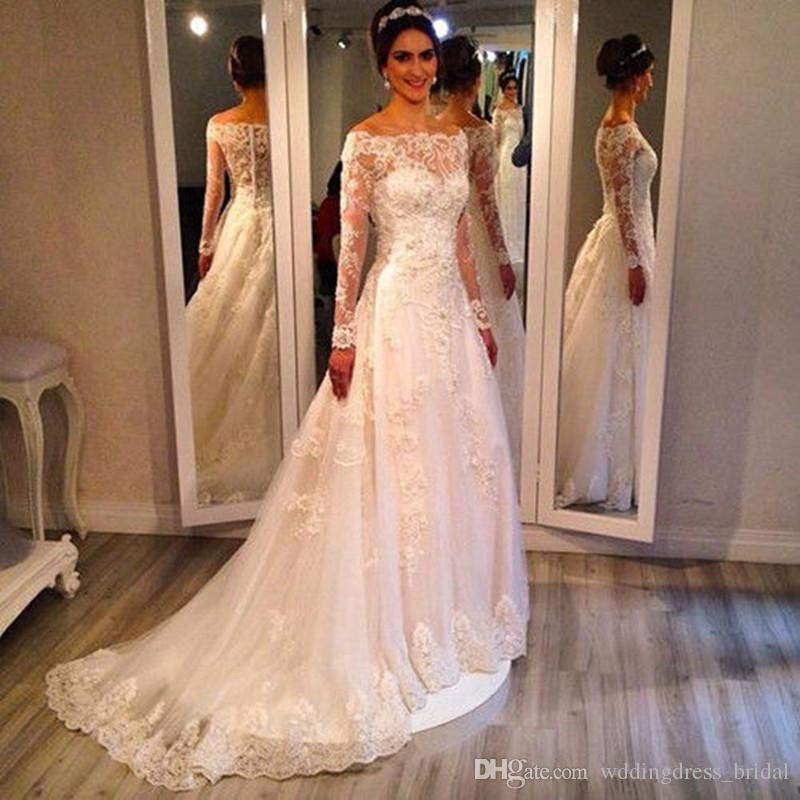 Modest Wedding Dresses 2019: Discount Modest Wedding Dresses 2019 Bateau Off Shoulder
