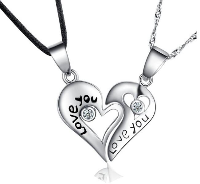 for lovers half puzzle two heart pendant necklace product men cz accessories women jewellery couple fashion gift titanium picker jewelry