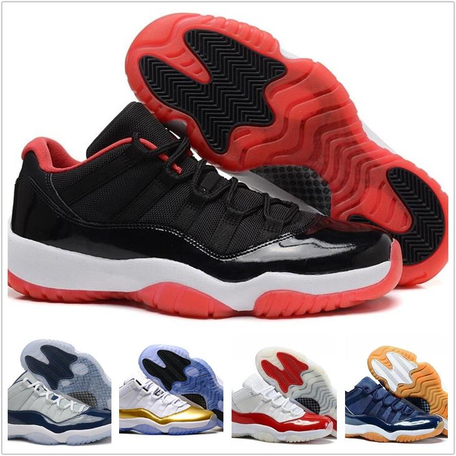 big sale 4f274 34db8 2018 11 Men Basketball Shoes 2017 Concord 11s Sport Sneaker Low Metallic  Gold Navy Blue White Red Bred 8 Colors Size US 7-12