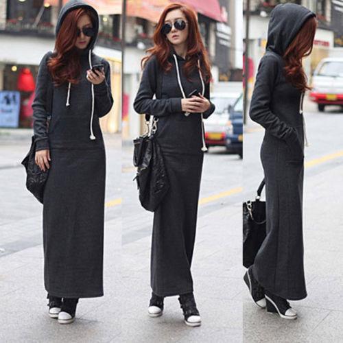 Sıcak Moda Sonbahar Güz Kış Kadın Siyah Gri Kazak Elbise Fleeced Hoodies Uzun Kollu İnce Maxi Elbiseler Sml XL XXL Kış Elbise M176