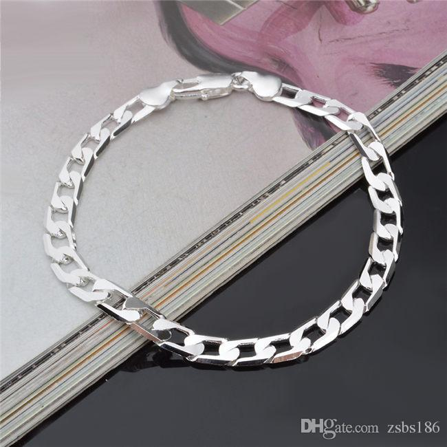 Fashion Jewelry 925 sterling silver plated men Figaro chain bracelet 6MM 20CM Top quality factory price