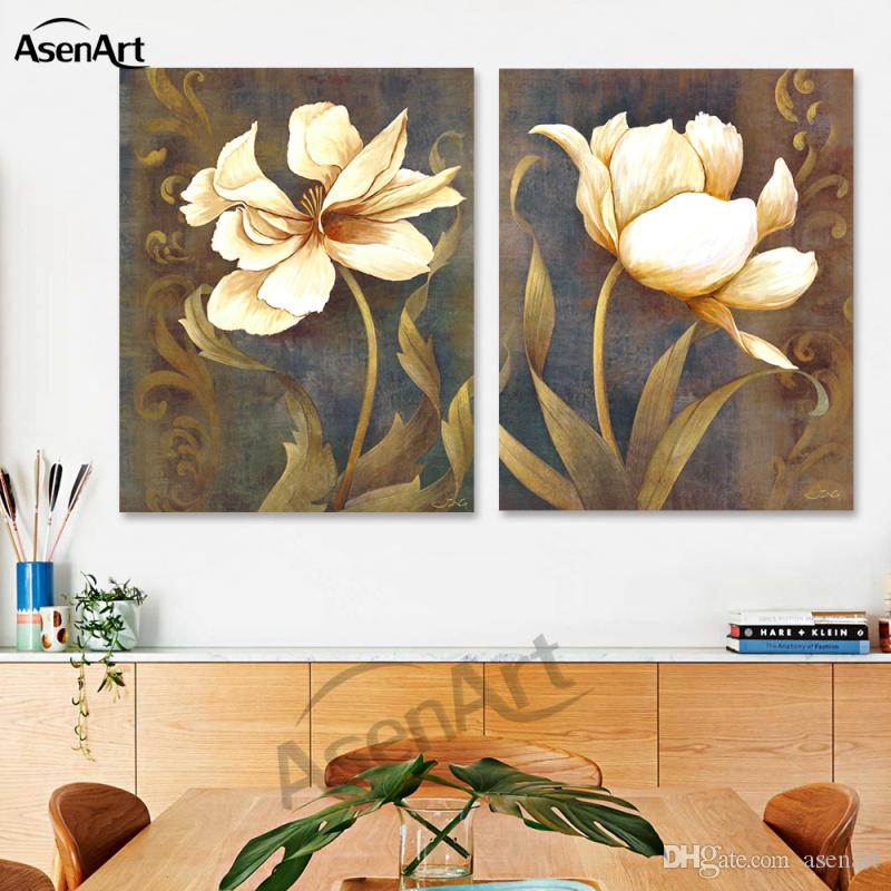 The Sacred White Lotus 2 Panels Oil Painting Print on Canvas for Living Room Bedroom Wall Art Home Decor