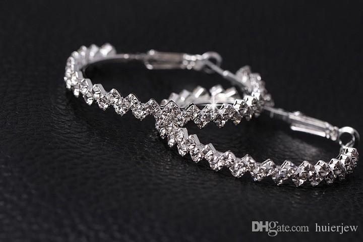 Pendientes de aro para mujer joyería de moda Pendiente de diamante de boda / compromiso Pendientes de gota colgantes 925 aro de plata grandes pendientes de aro