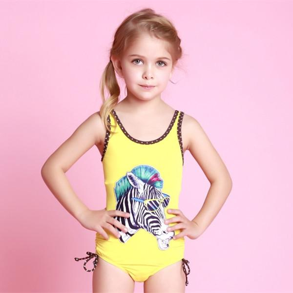 2018 2016 New Zebra Pattern Little Girls Swimwear Baby One