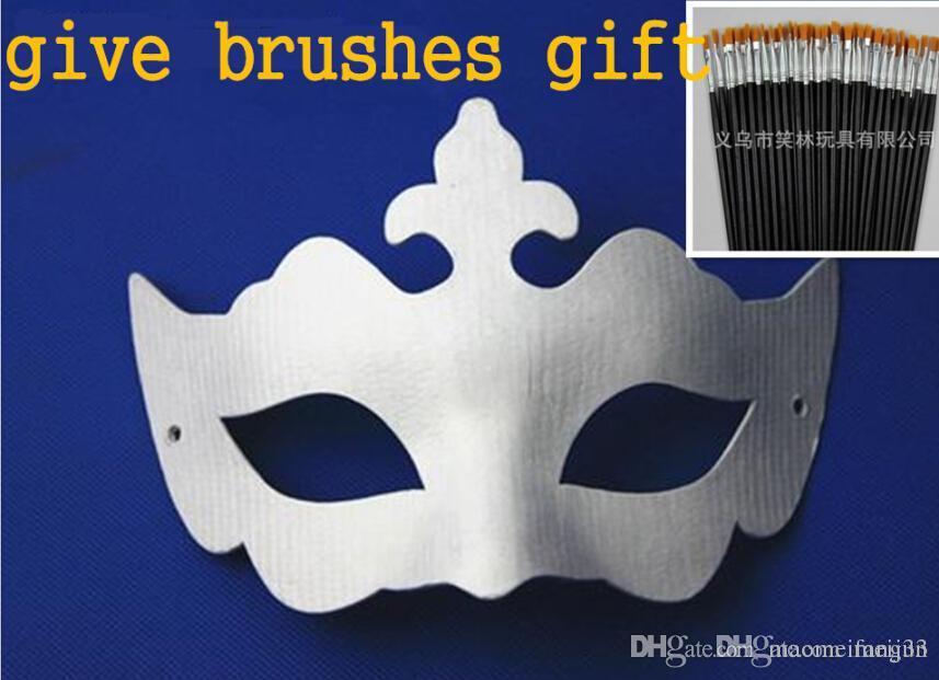 Satın Al Diy Boyama Beyaz Kağıt Maskeleri Fırçalar Hediye Venedik