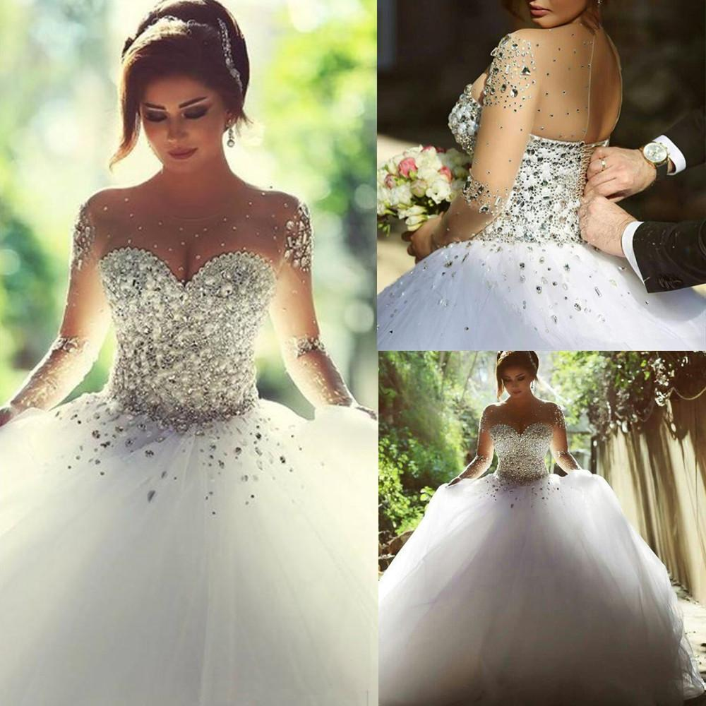 Discount 2015 Vintage Long Sleeves Wedding Dresses With Rhinestones Crystals  Beaded Lace Up Back Ball Gown Plus Size Dress Arabic Bridal Gowns Cheap  Sexy ... c61bb7b355a4