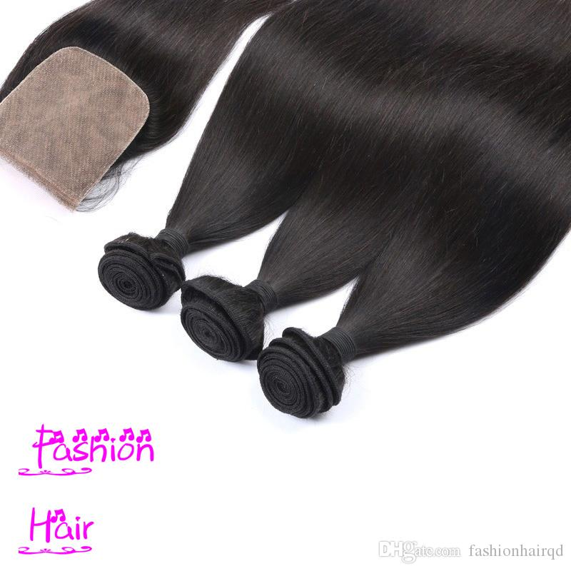 Brazilian Peruvian Indian Malaysian Virgin Hair Bundles With Silk Base Closure 4*4 inch 8A Grade Straight Human Hair Weaves And Silk Closure