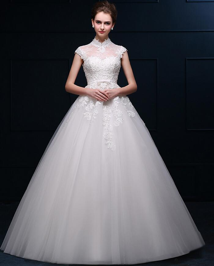 Turtleneck Wedding Gown: Retro Turtleneck Bride Wedding Dresses Sleeveless Applique