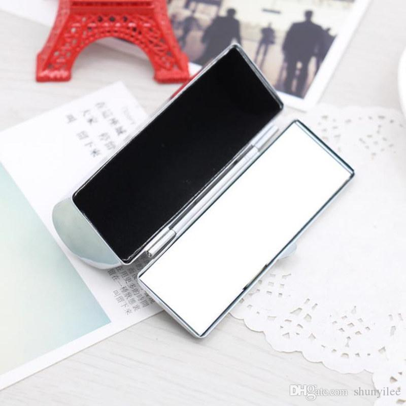 Blank Metal Lip stick Box Cosmetic Organizer pill Cases Holder Inside with Mirror Gift Fast Shipping F20172396