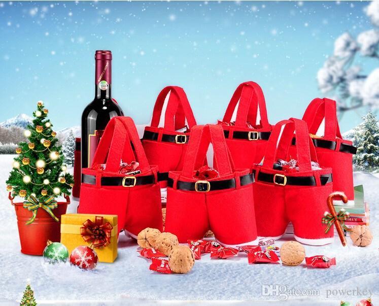 Neue heiße Verkäufe reizende Sankt-Hosen-Art-Süßigkeiten rote Weihnachtssüßigkeit-Geschenk-Beutel-Weihnachtsbeutel-Geschenke Weihnachtsdekorationen Los AM0082