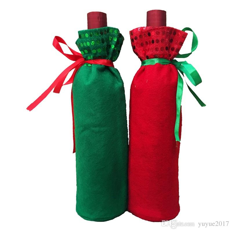 Red Wine Bottle Bags Christmas Decorations Gift Party Best Gift for Xmas Bar Red Wine Bottle Cover Bags DHL Free shipping