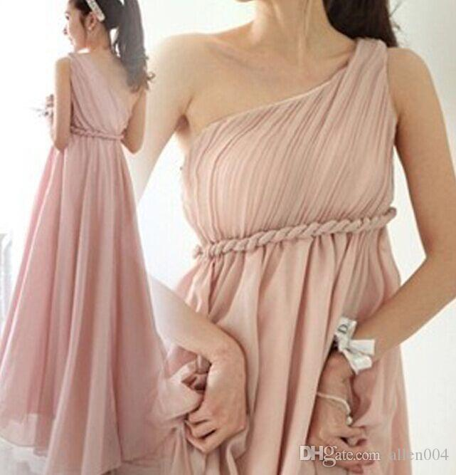 New Women Greek Long One Shoulder Maxi Dress Pleated Chiffon