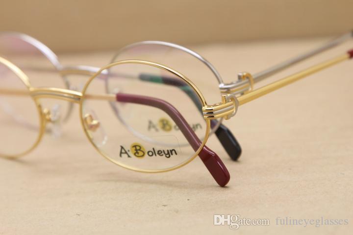 оптовые Большие 1188008 Металлические очки Изящные Оба мужчины и женщины очки Размер: 55-22-135mm серебро золото металлический каркас очки люнеты