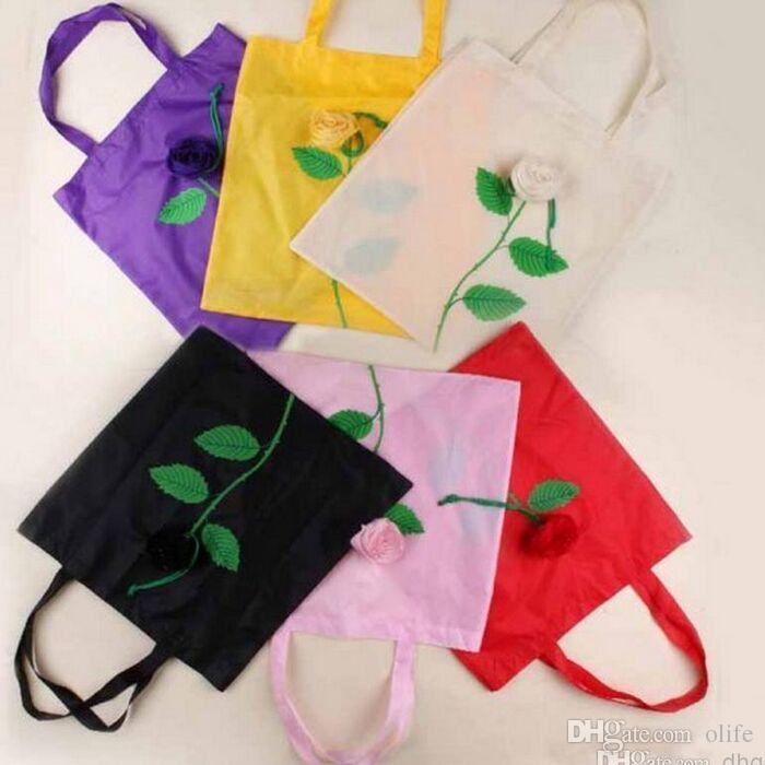 2015 bonito Nylon Rosa consideravelmente dobráveis sacos Eco reutilizável Ambiental saco de compras bolsa bolsa Vai o verde 10 cores