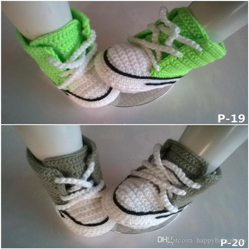 2016 Baby crochet sneakers shoes zapato botines, es Handmade crochet sneaker sandalias de zapatos prewalker para niños pequeños / niños / bebés