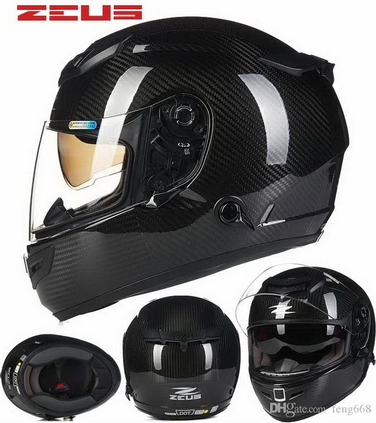2016 New Taiwan Zeus Carbon Fiber Dual Lens Full Face Motorcycle Helmet Car Racing Helmets Male Female Four Seasonsmodels Zs1200e Cheap Helmet Cheap Helmets