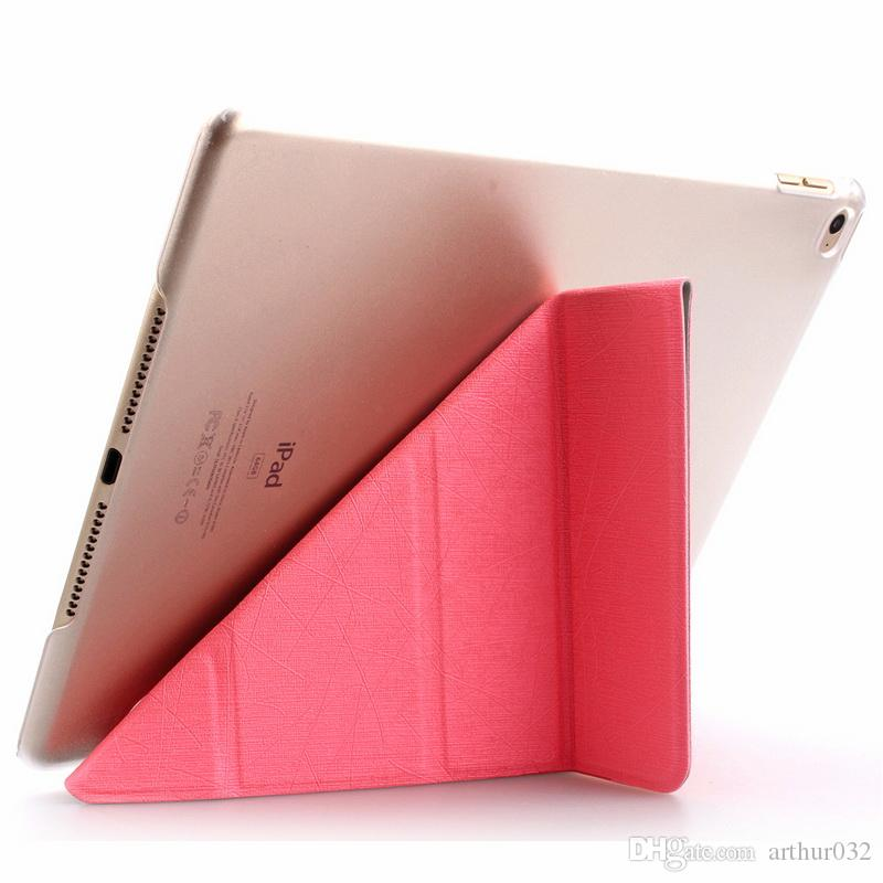 New Folding Stand Transformers Flip Silk leather Case Magnetic Smart Cover with Automatic Sleep & Wake-up for iPad Mini 1 2 3 4 5 6 Air Air2