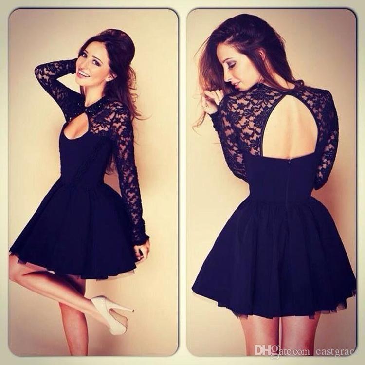여성을위한 여름 드레스 새로운 hollowed backless 레이스 긴 소매 섹시한 - 라인 드레스 여자를위한 패션 섹시한 레이스 드레스